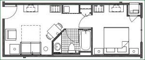 Floor plan 1 Bedroom King Suite