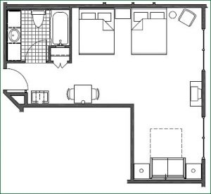 Floor plan 2 Queen Family Suite with Sofabed