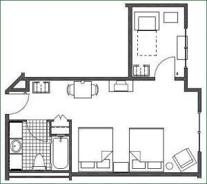 Floor plan 2 Queen Suite w/ Twin Sofabed